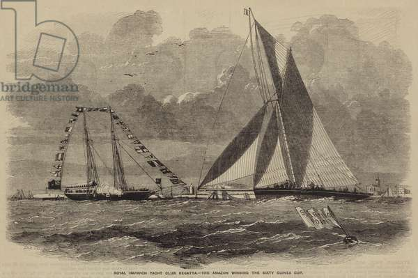 Royal Harwich Yacht Club Regatta, the Amazon winning the Sixty Guinea Cup (engraving)