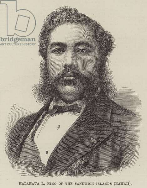 Kalakaua I, King of the Sandwich Islands (Hawaii) (engraving)