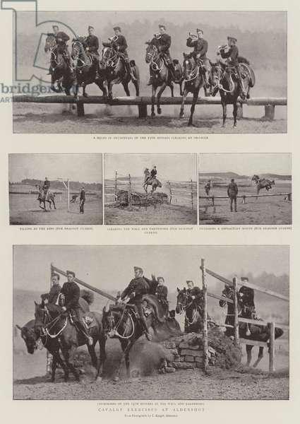 Cavalry Exercises at Aldershot (b/w photo)