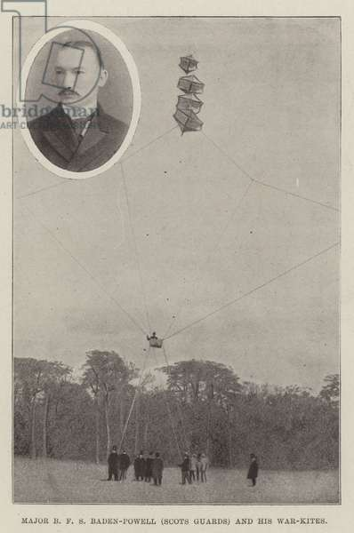 Major B F S Baden-Powell (Scots Guards) and his War-Kites (litho)