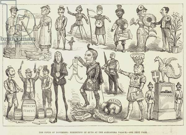 The Fifth of November, Exhibition of Guys at the Alexandra Palace (engraving)