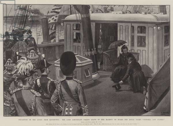 "Departure of the Queen from Kingstown, the Lord Lieutenant taking Leave of Her Majesty on Board the Royal Yacht ""Victoria and Albert"" (litho)"