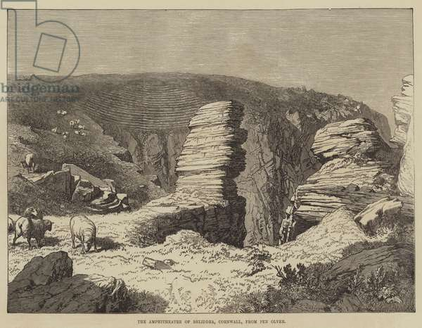 The Amphitheatre of Beliddea, Cornwall, from Pen Olver (engraving)