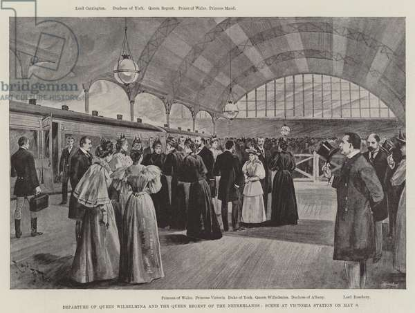 Departure of Queen Wilhelmina and the Queen Regent of the Netherlands, Scene at Victoria Station on 9 May (litho)