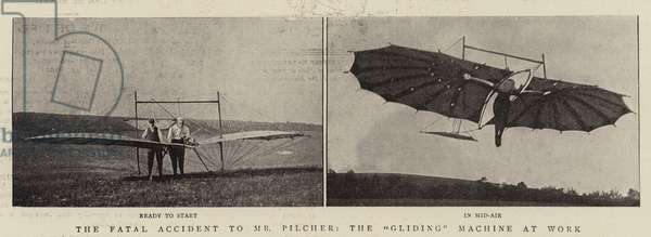 """The Fatal Accident to Mr Pilcher, the """"Gliding"""" Machine at Work (b/w photo)"""