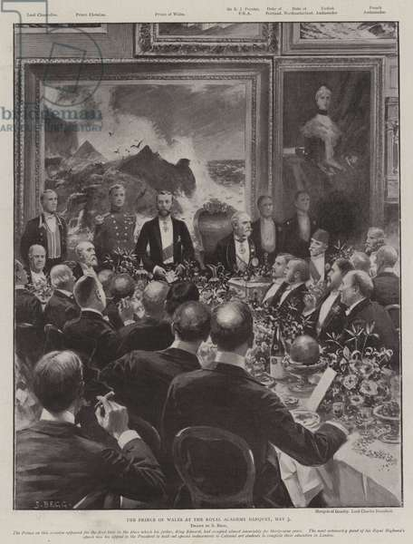 The Prince of Wales at the Royal Academy Banquet, 3 May (engraving)