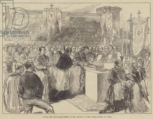 Laying the Foundation-Stone of the Church of the Sacred Heart at Paris (engraving)