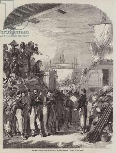 The War, Embarkation of Zouaves at Marseilles (engraving)