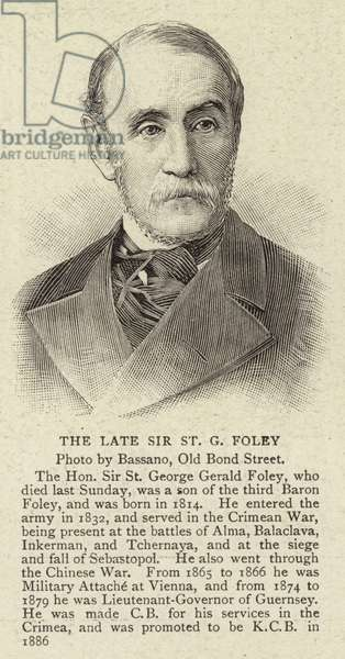 The Late Sir St G Foley (engraving)