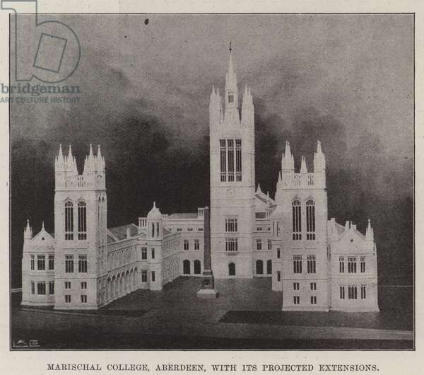 Marischal College, Aberdeen, with its Projected Extensions (b/w photo)