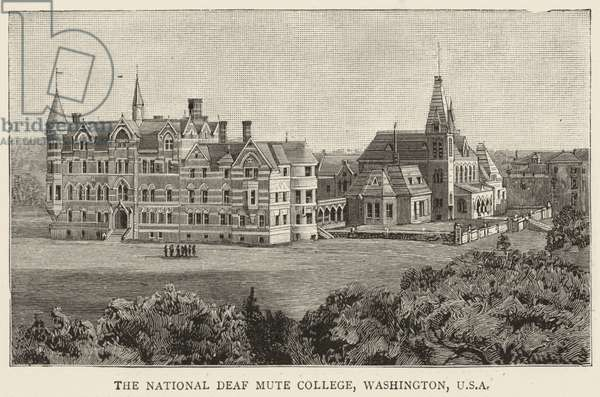 The National Deaf Mute College, Washington, USA (engraving)
