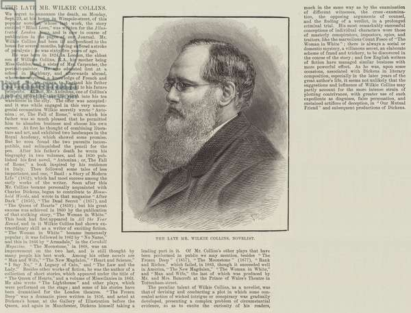 The late Mr Wilkie Collins, Novelist (engraving)