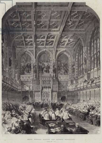 Queen Victoria opening her Seventh Parliament, Tuesday, 6 February 1866 (engraving)