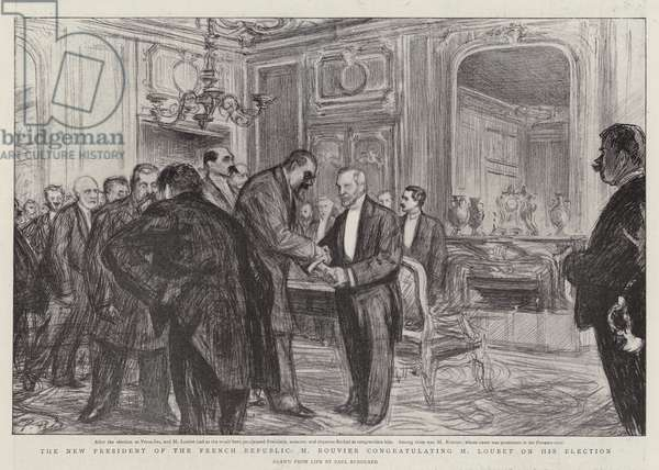 The New President of the French Republic, M Rouvier congratulating M Loubet on his Election (litho)