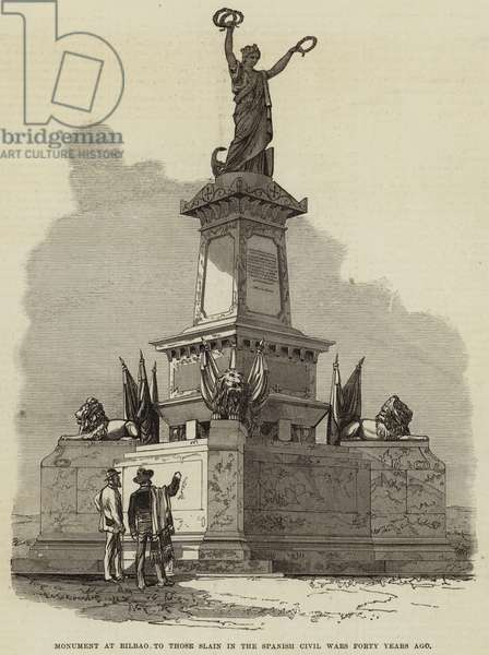 Monument at Bilbao to those Slain in the Spanish Civil Wars Forty Years ago (engraving)