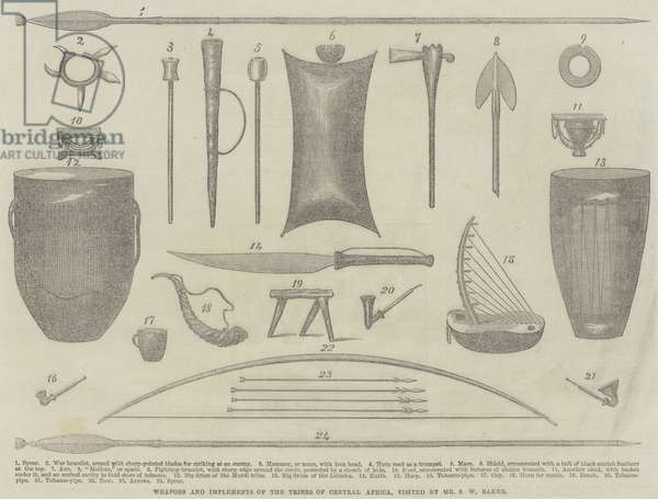 Weapons and Implements of the Tribes of Central Africa, visited by Mr S W Baker (engraving)
