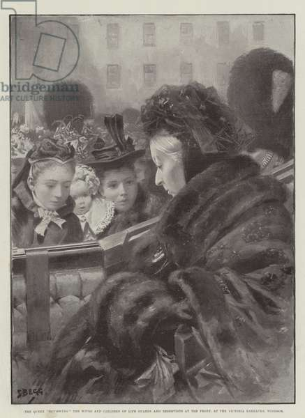 The Queen reviewing the Wives and Children of Life Guards and Reservists at the Front, at the Victoria Barracks, Windsor (litho)