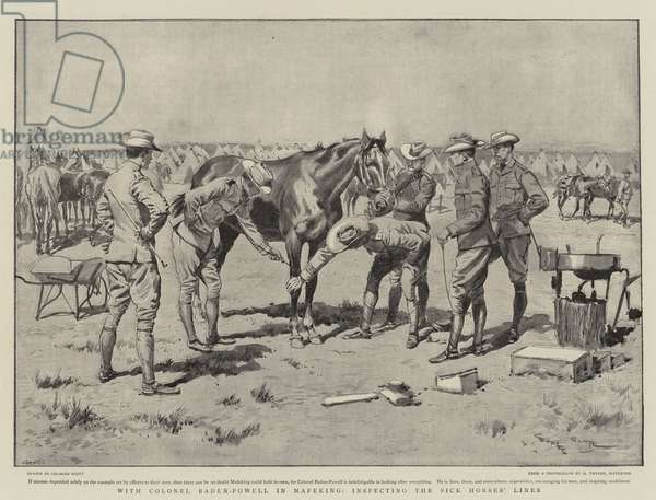With Colonel Baden-Powell in Mafeking, inspecting the Sick Horses' Lines (litho)