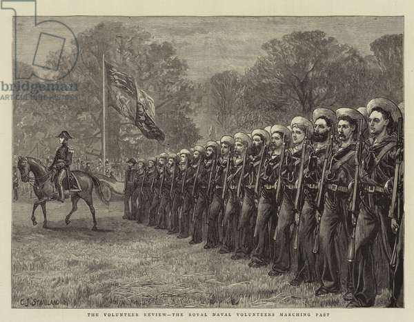 The Volunteer Review, the Royal Naval Volunteers Marching Past (engraving)