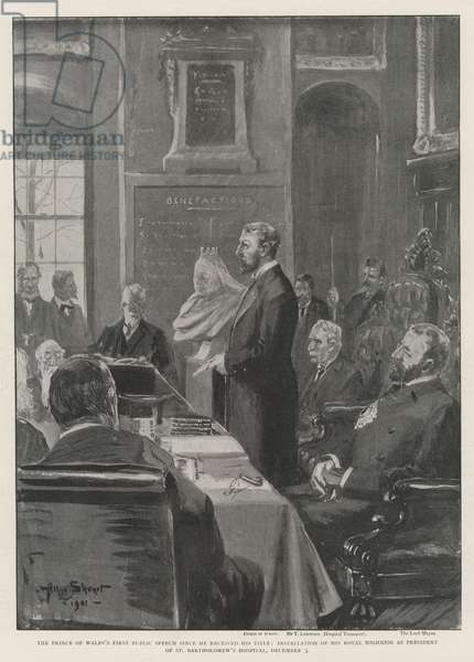 The Prince of Wales's First Public Speech since he received his Title, Installation of His Royal Highness as President of St Bartholomew's Hospital, 3 December (engraving)
