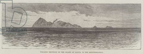 Volcanic Eruption on the Island of Galita, in the Mediterranean (engraving)