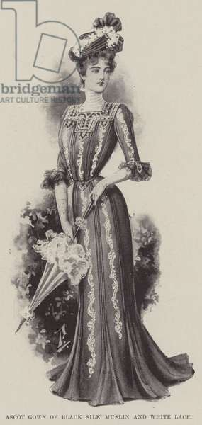 Ascot Gown of Black Silk Muslin and White Lace (litho)