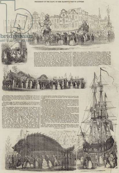 Procession of the Giant, on Her Majesty's Visit to Antwerp (engraving)