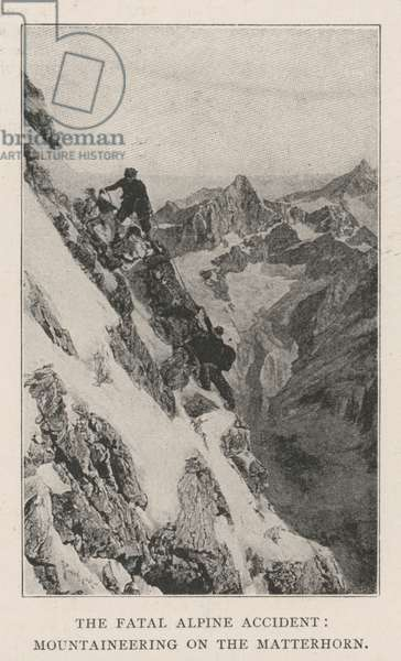 The Fatal Alpine Accident, Mountaineering on the Matterhorn (engraving)