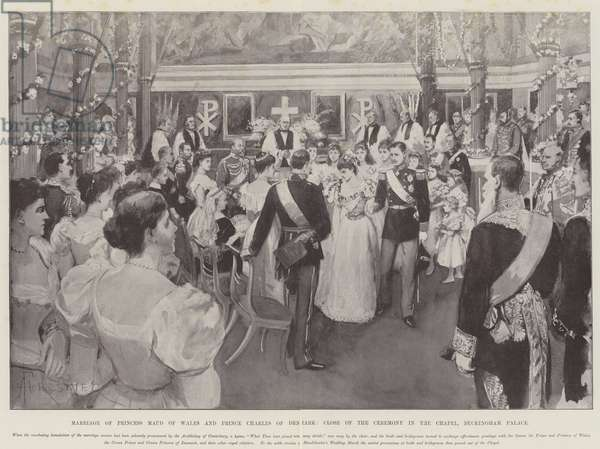 Marriage of Princess Maud of Wales and Prince Charles of Denmark, Close of the Ceremony in the Chapel, Buckingham Palace (engraving)