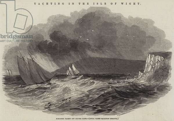 Yachting in the Isle of Wight, Schooner Yachts off Culver Cliff, Royal Yacht Squadron Regatta (engraving)
