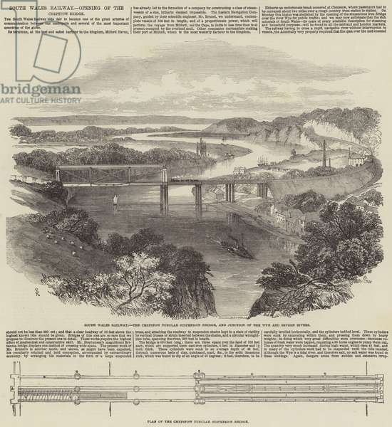 South Wales Railway, Opening of the Chepstow Bridge (engraving)