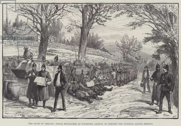 The State of Ireland, Police bivouacked at Woodford, Galway, to prevent the National League Meeting (engraving)