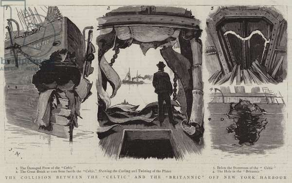 """The Collision between the """"Celtic"""" and the """"Britannic"""" off New York Harbour (engraving)"""