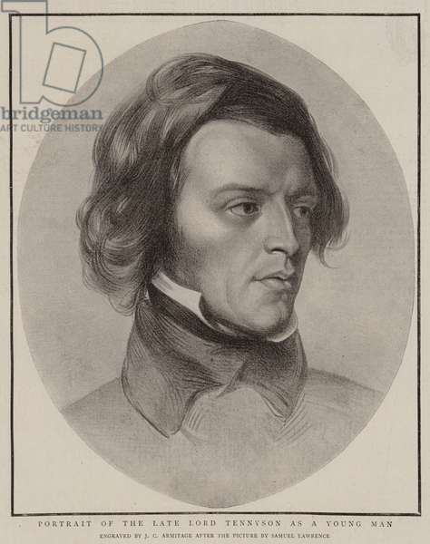Portrait of the Late Lord Tennyson as a Young Man (engraving)