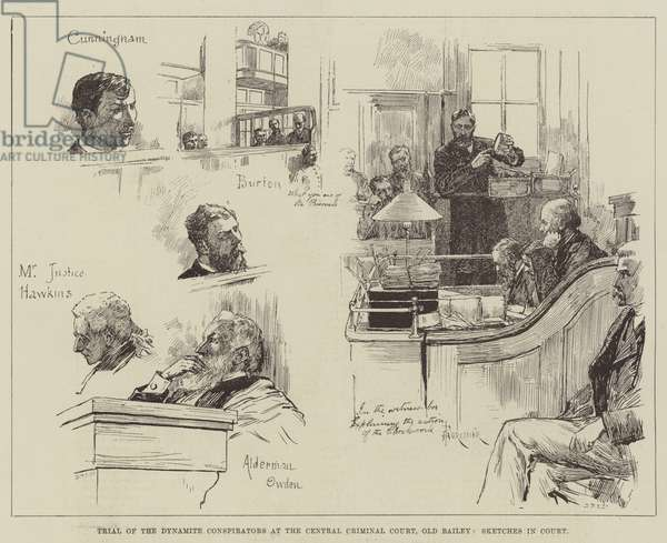Trial of Dynamite Conspirators at the Central Criminal Court, Old Bailey, Sketches in Court (engraving)