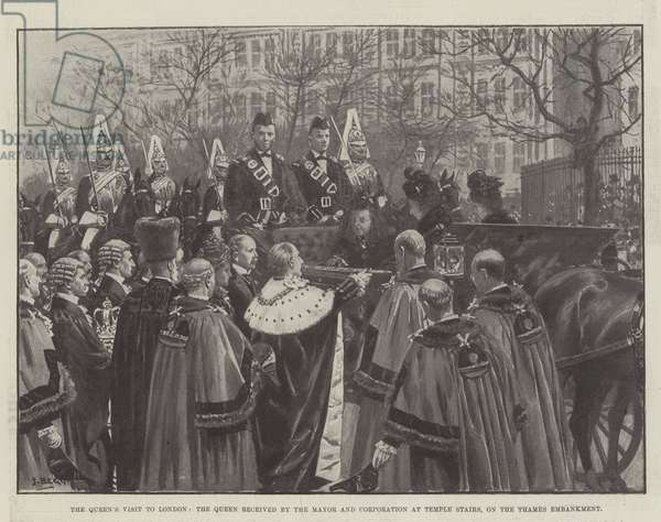 The Queen's Visit to London, the Queen received by the Mayor and Corporation at Temple Stairs, on the Thames Embankment (litho)