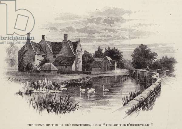 """The scene of the bride's confession, from """"Tess of the D'Urbervilles"""" (litho)"""