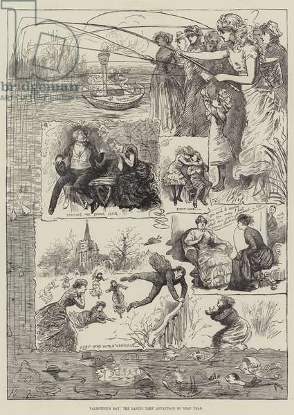 Valentine's Day, the Ladies take Advantage of Leap Year (engraving)