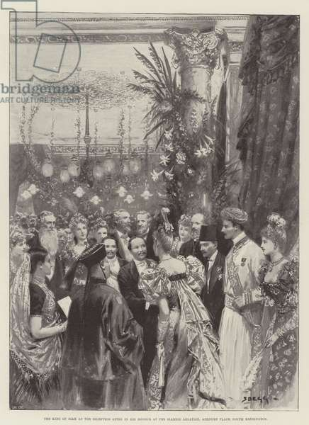 The King of Siam at the Reception given in his Honour at the Siamese Legation, Ashburn Place, South Kensington (litho)