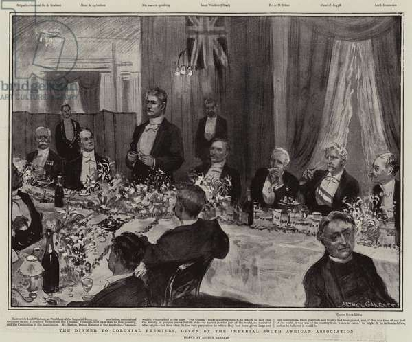 The Dinner to Colonial Premiers, given by the Imperial South African Association (litho)