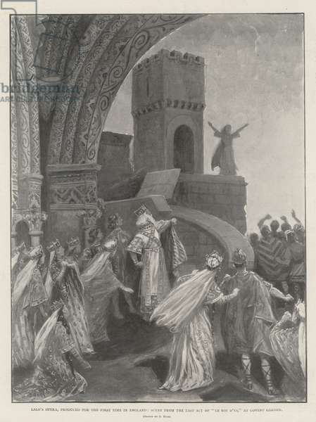 """Lalo's Opera, produced for the First Time in England, Scene from the Last Act of """"Le Roi d'Ys,"""" at Covent Garden (litho)"""