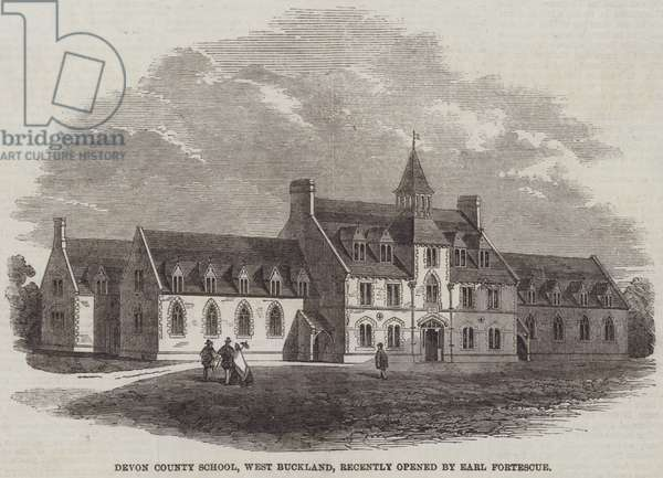 Devon County School, West Buckland, recently opened by Earl Fortescue (engraving)