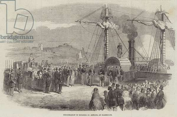 Embarkation of Marshal St Arnaud, at Marseilles (engraving)