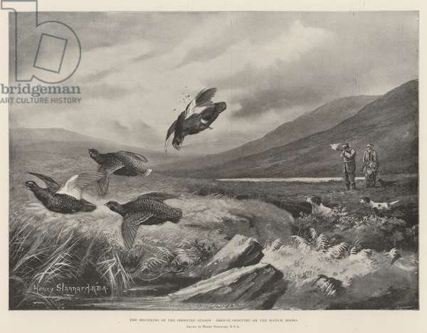 The Beginning of the Shooting Season, Grouse-Shooting on the Scotch Moors (litho)