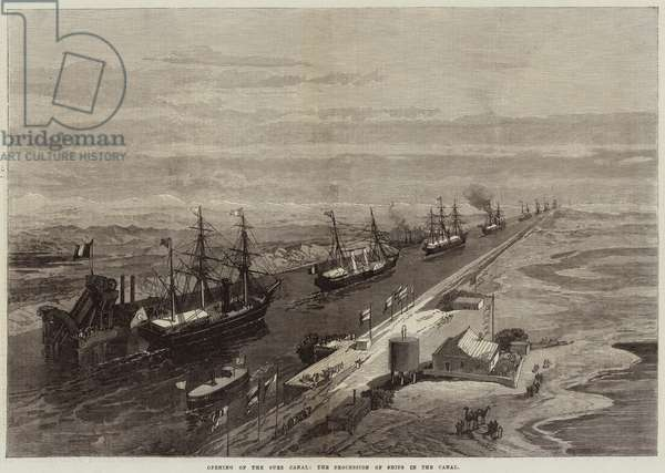 Opening of the Suez Canal, the Procession of Ships in the Canal (engraving)