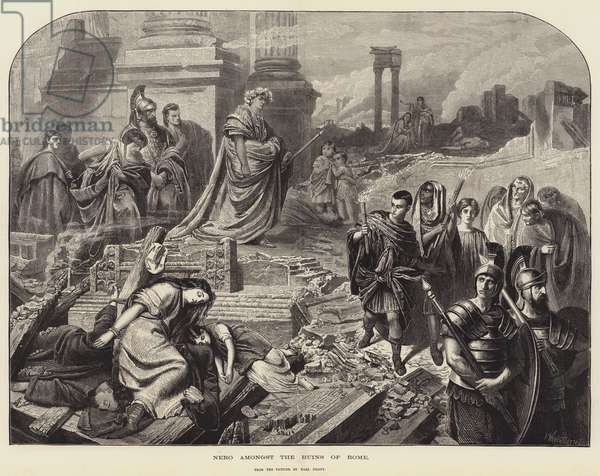 Nero amongst the Ruins of Rome (engraving)