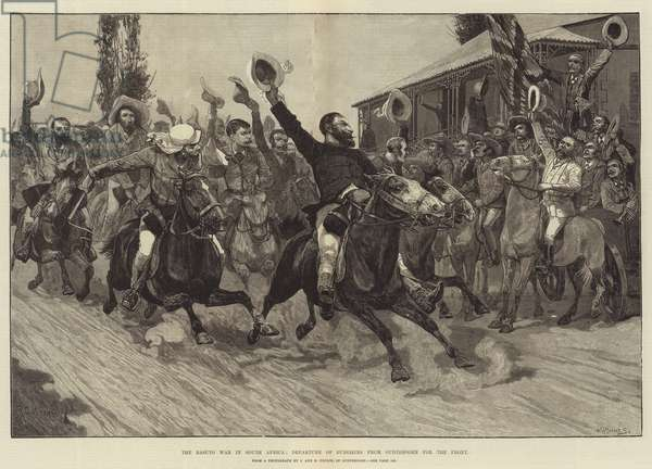 The Basuto War in South Africa, Departure of Burghers from Outshoorn for the Front (engraving)