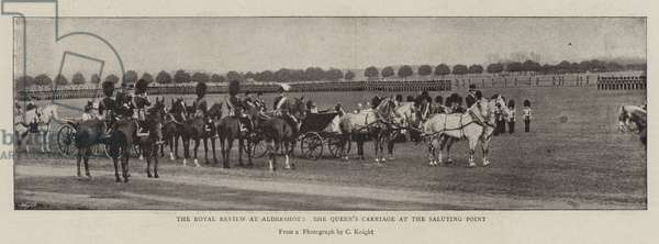 The Royal Review at Aldershot, the Queen's Carriage at the Saluting Point (b/w photo)