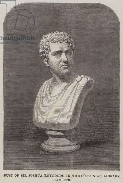 Bust of Sir Joshua Reynolds, in the Cottonian Library, Plymouth (engraving)