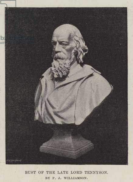 Bust of the late Lord Tennyson, by F J Williamson (b/w photo)